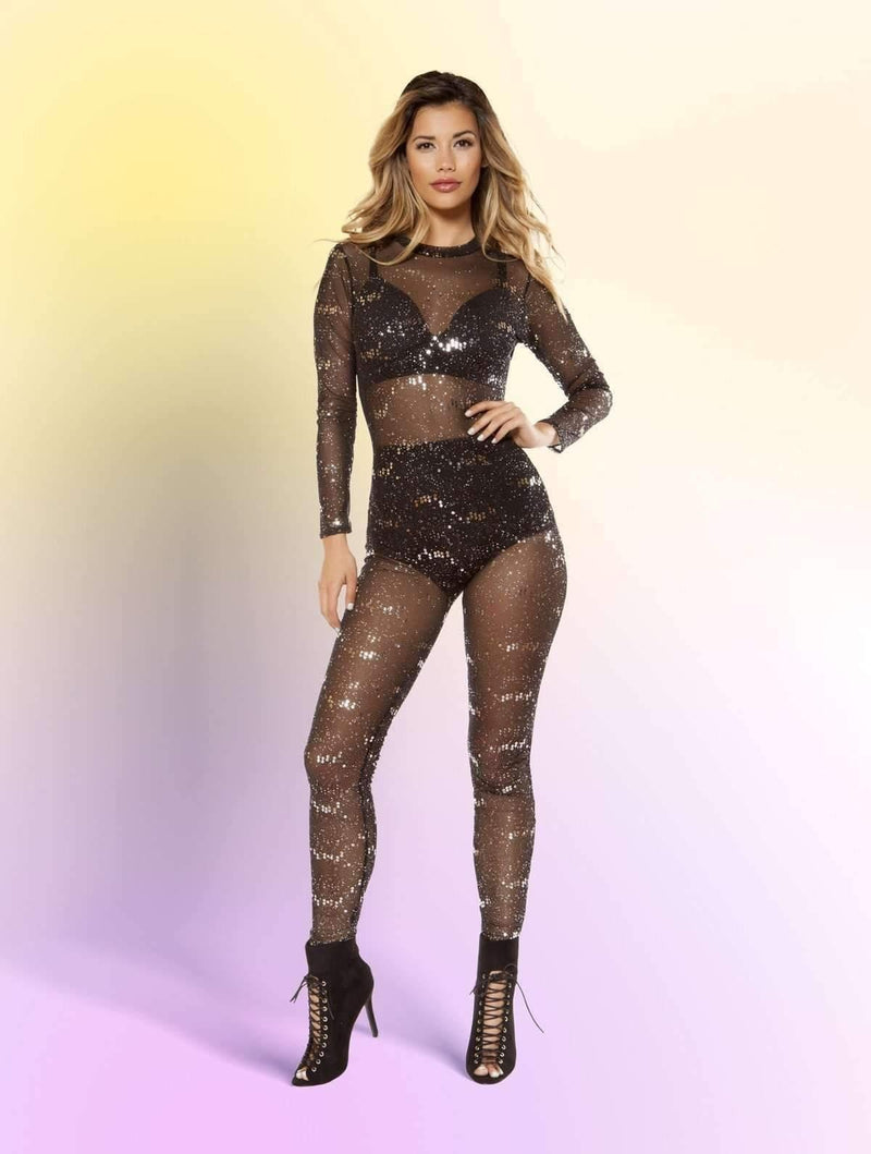 Roma 3404 Glitter Sheer Mesh Jumpsuit-Rompers-Roma-Small-Black/Silver-Unspoken Fashion