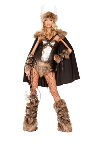 Roma 4892 - 4pc Viking Warrior Costume-Costumes-Roma-Small-Black/Beige-Unspoken Fashion
