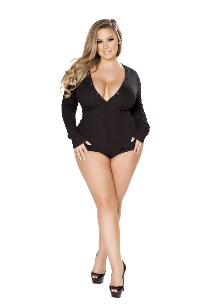 Roma Confidential Cozy & Comfy Sweater Romper LI211-Sleepwear-Roma-XL/XXL-Black-Unspoken Fashion