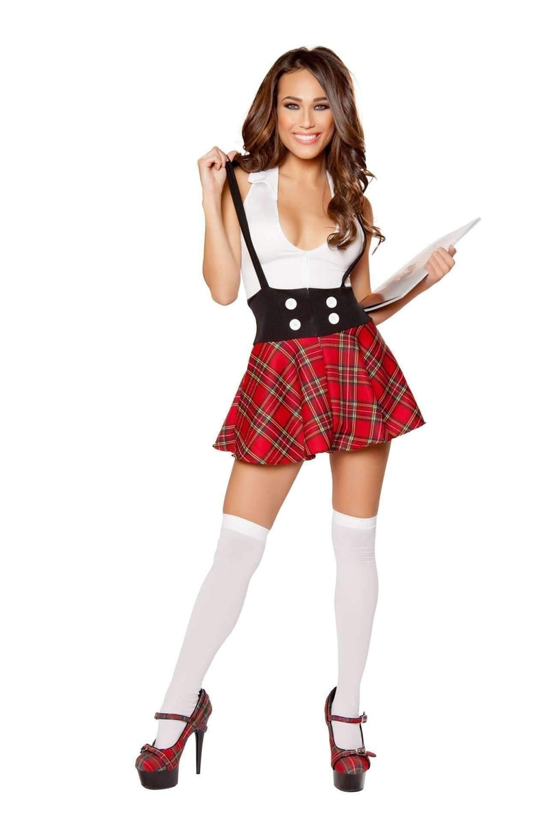 Roma Costume 10097 - 1pc Teasing School Girl-Costumes-Roma-Large-Black/White/Red-Unspoken Fashion