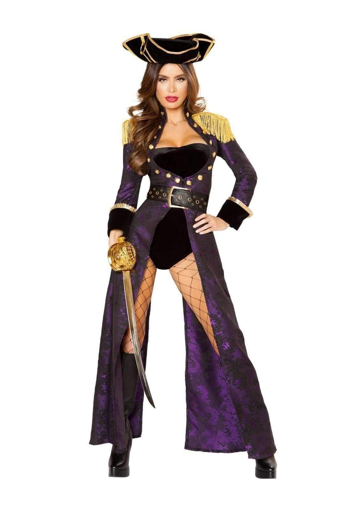 Roma Costume 10104 - 4pc Pirate Queen-Costumes-Roma-Small-Black/Purple/Gold-Unspoken Fashion