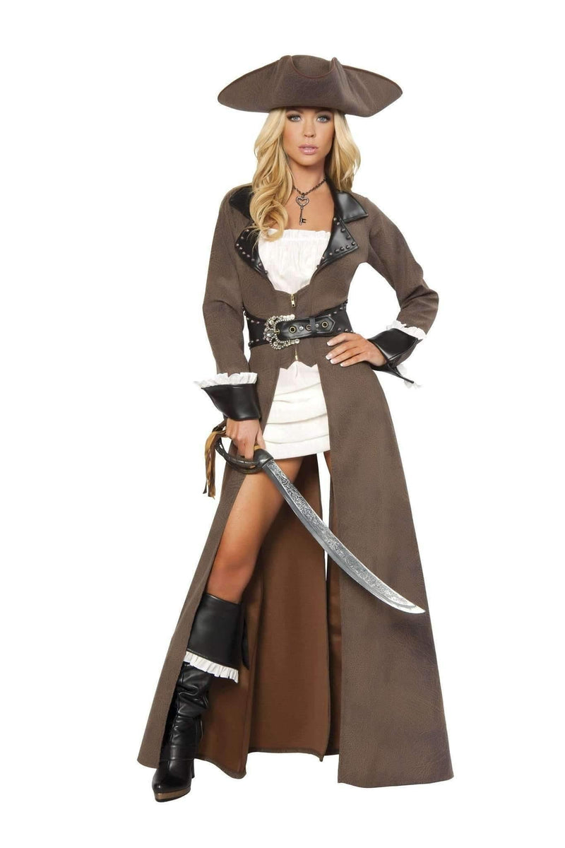 Roma Costume 4242 Deluxe 4pc Pirate Captain-Costumes-Roma-Small-Brown/Black/White-Unspoken Fashion