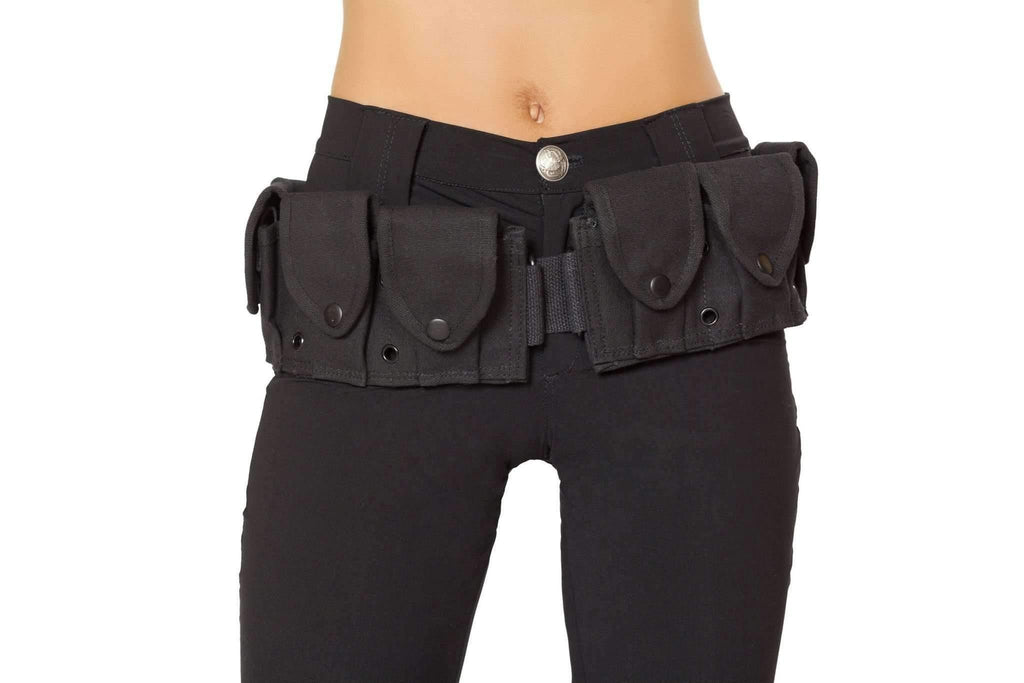 Roma Costume 4502 Belt With Pouches-Costume Accessories-Roma-Black-One Size-Unspoken Fashion