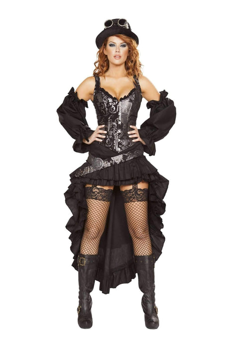 Roma Costume 4647 - 6Pc Sexy Steampunk Maiden-Costumes-Roma-Small-Black/Silver-Unspoken Fashion