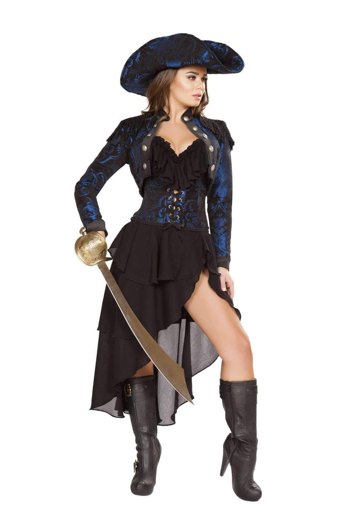 Roma Costume 4652 - 4Pc Captain Of The Night-Costumes-Roma-Large-Black/Blue-Unspoken Fashion