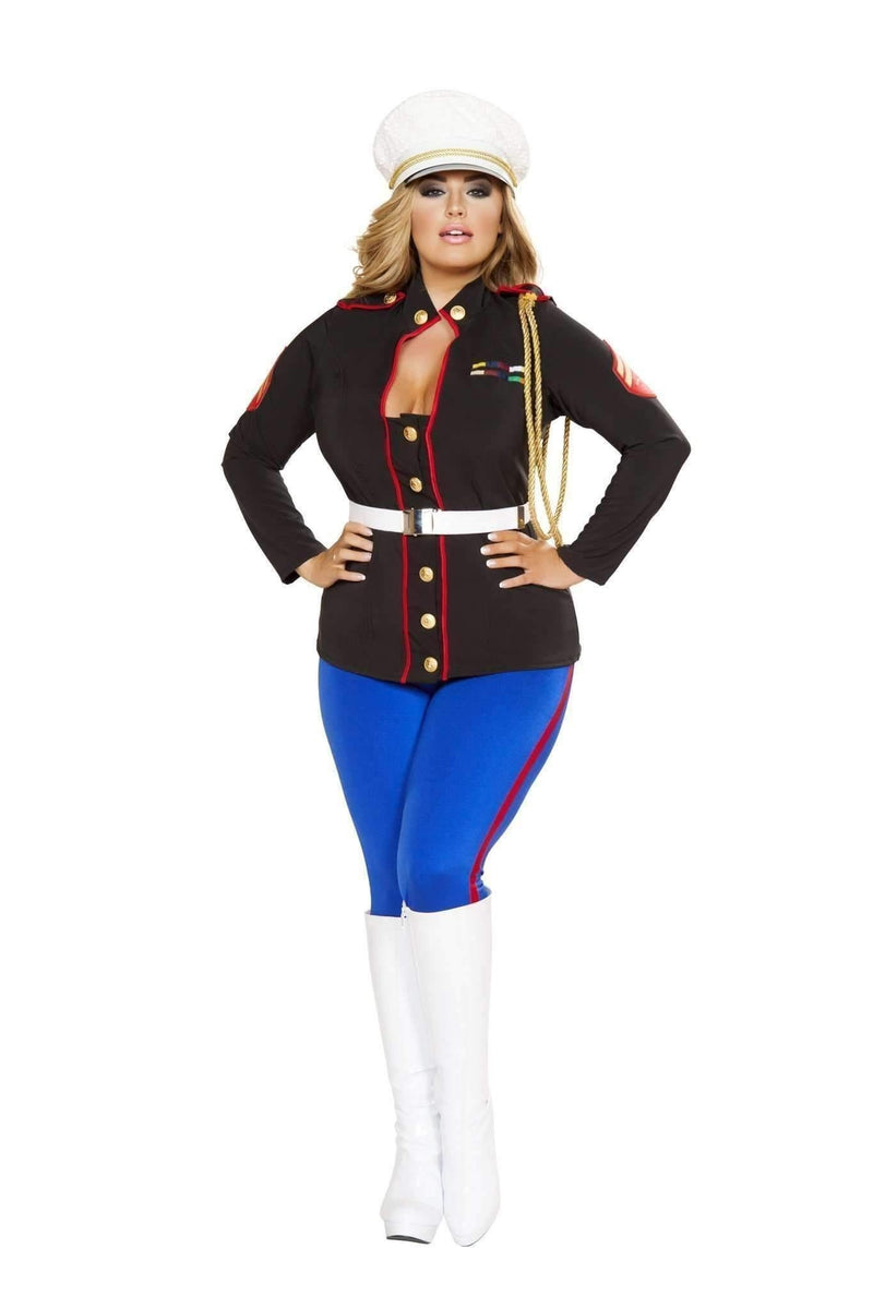 Roma Costume 4701 - 3Pc Sexy Marine Corporal-Costumes-Roma-XL-Black/Blue/Red-Unspoken Fashion