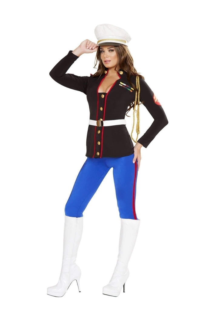 Roma Costume 4701 - 3Pc Sexy Marine Corporal-Costumes-Roma-Large-Black/Blue/Red-Unspoken Fashion