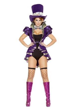 Roma Costume 4729 - 4Pc As Mad As A Hatter-Costumes-Roma-Large-Purple/Black-Unspoken Fashion