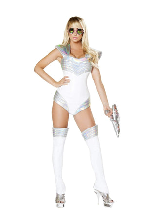 Roma Costume 4739 - 1Pc Space Soldier-Costumes-Roma-Large-White/Silver-Unspoken Fashion