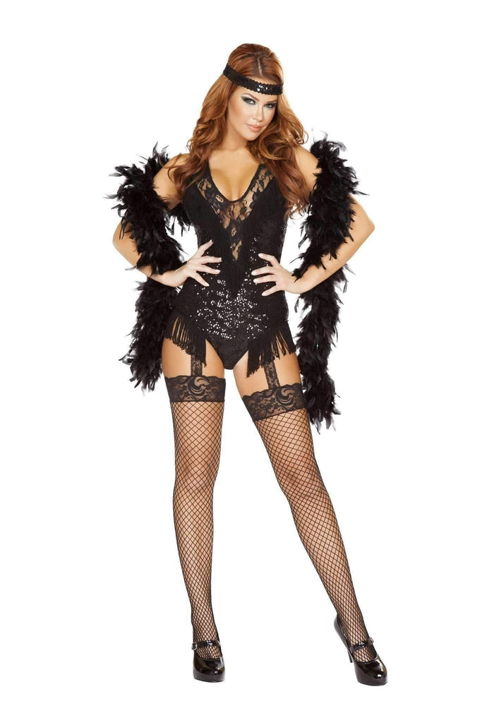 Roma Costume 4748 - 2Pc 1920'S Party Flapper-Costumes-Roma-Large-Black-Unspoken Fashion