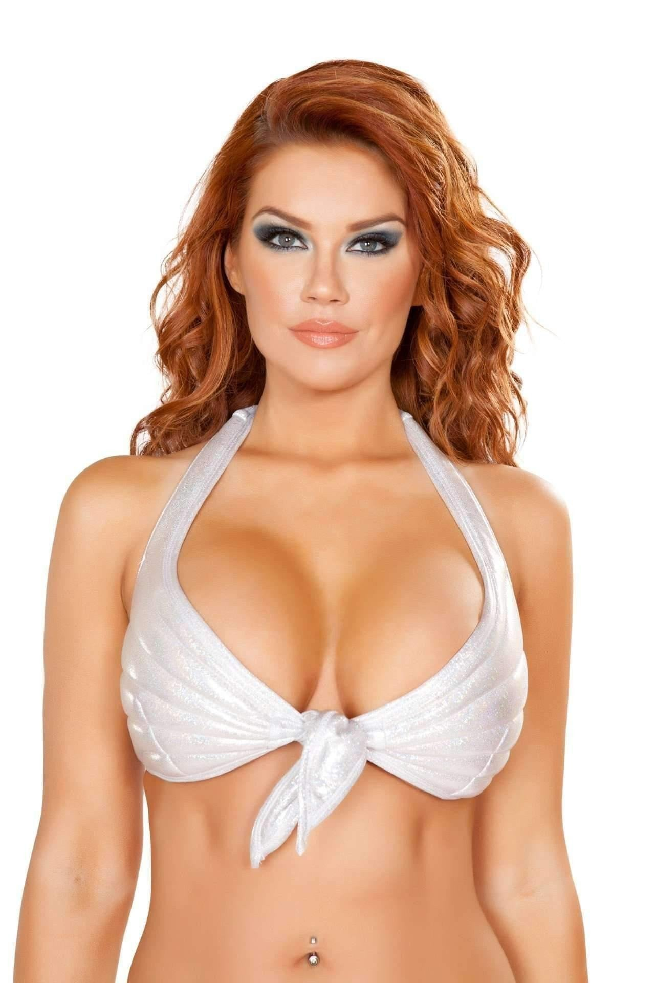 Roma Costume 4765 - Tie Front Halter Style Top-Costumes-Roma-Small-Silver-Unspoken Fashion