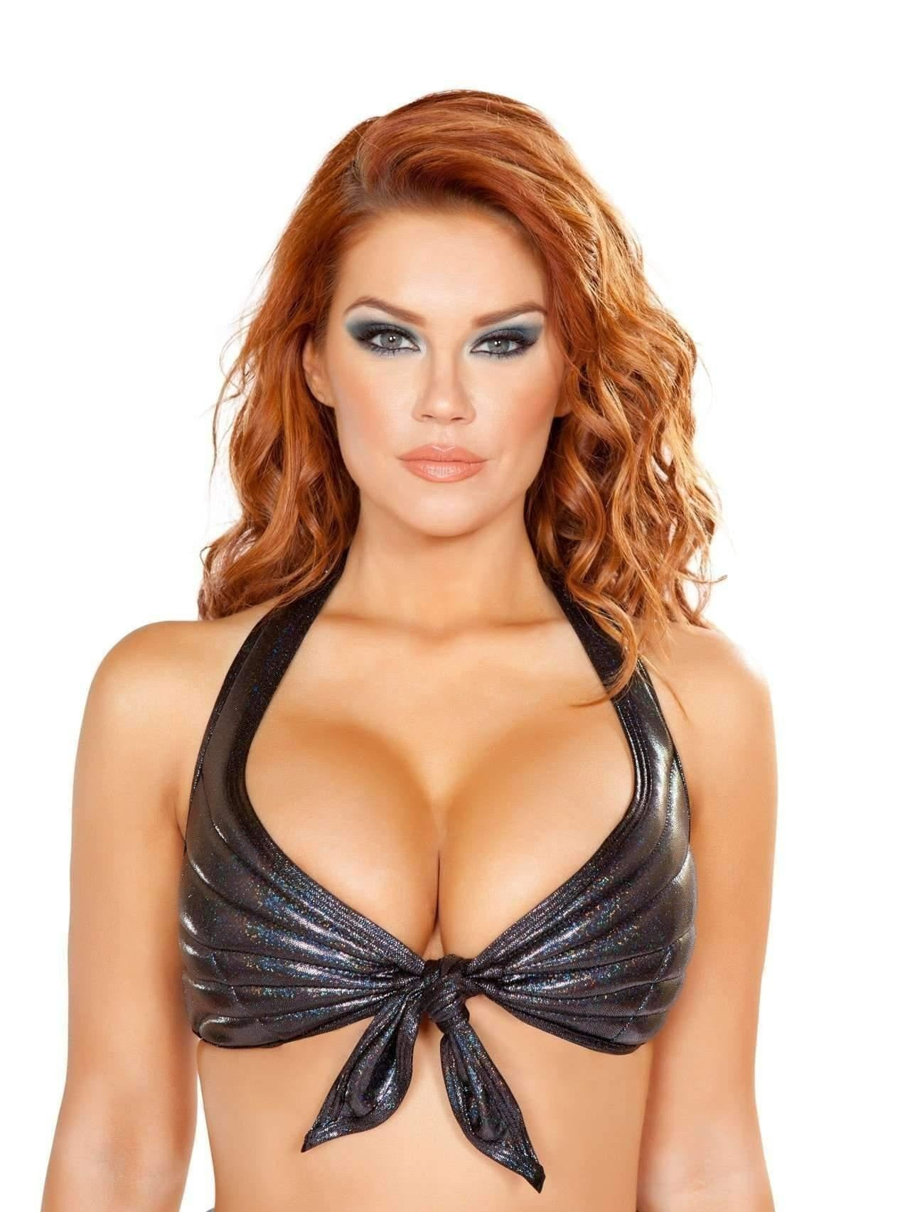 Roma Costume 4765 - Tie Front Halter Style Top-Costumes-Roma-Small-Black-Unspoken Fashion