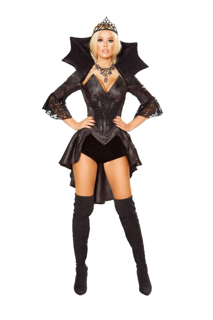 Roma Costume 4785 - 4Pc Queen Of Darkness-Costumes-Roma-Small-Black/Gunmetal-Unspoken Fashion