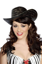Load image into Gallery viewer, Roma Costume H4152 Black Straw Hat-Costume Accessories-Roma-As Shown-One Size-Unspoken Fashion
