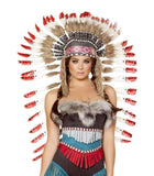 Roma Costume H4727 - Indian Headdress With Red Tips-Costume Accessories-Roma-One Size-Brown/White/Red-Unspoken Fashion