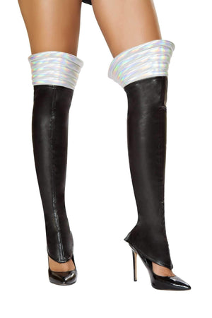 Roma Costume Lw4738 - Black Space Girl Leggings-Costume Accessories-Roma-One Size-Black/Silver-Unspoken Fashion