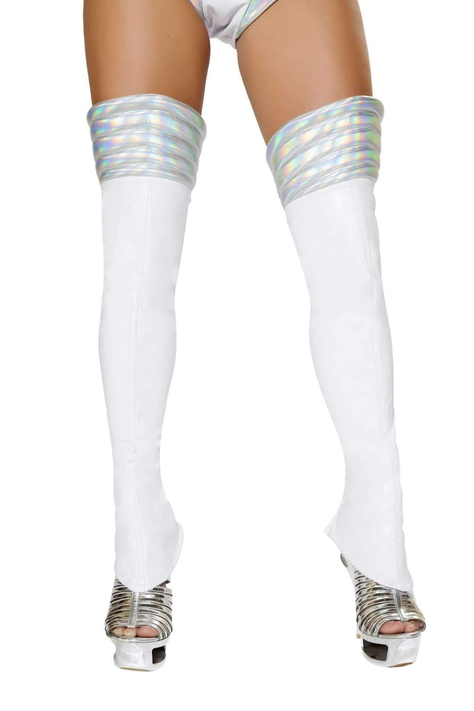 Roma Costume Lw4739 - White Space Girl Leggings-Costume Accessories-Roma-One Size-White/Silver-Unspoken Fashion