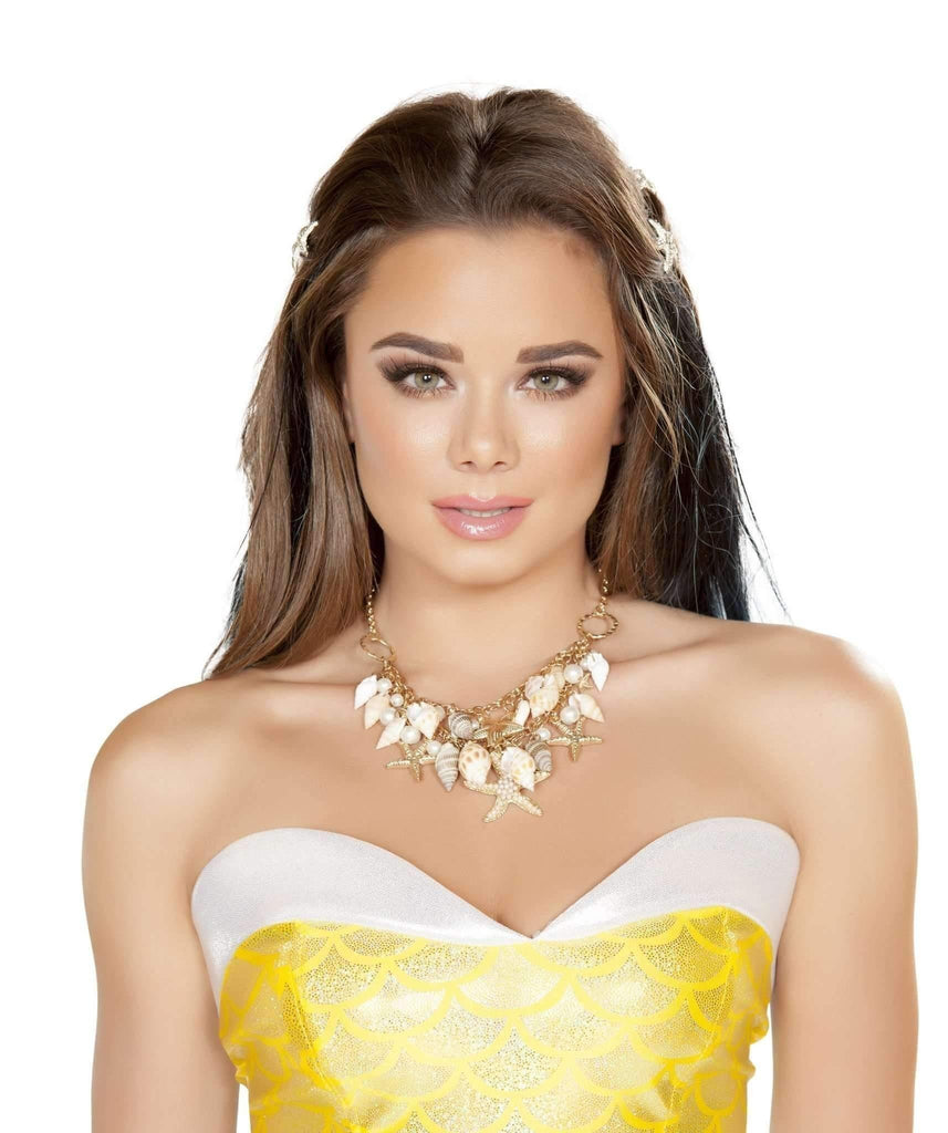 Roma Costume Nec405 - Shell Necklace-Costume Accessories-Roma-One Size-White/Gold-Unspoken Fashion