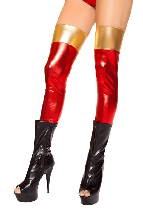 Roma Costume ST10055 - Red/Gold Leggings-Costume Accessories-Roma-One Size-Red/Gold-Unspoken Fashion
