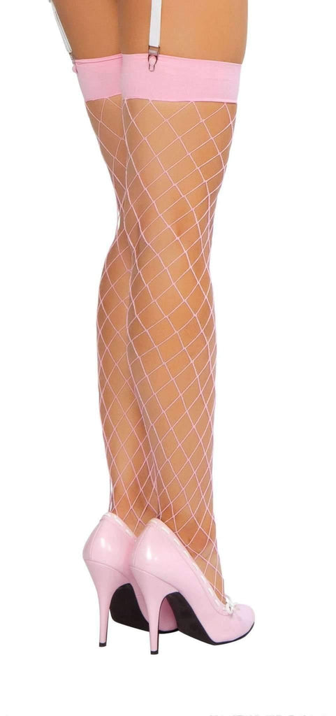 Roma Hosiery Stc207 - Thigh Highs Fishnet Stockings-Hosiery-Roma-Baby Pink-One Size-Unspoken Fashion