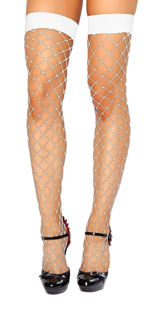 Roma Hosiery Stc207 - Thigh Highs Fishnet Stockings-Hosiery-Roma-White-One Size-Unspoken Fashion