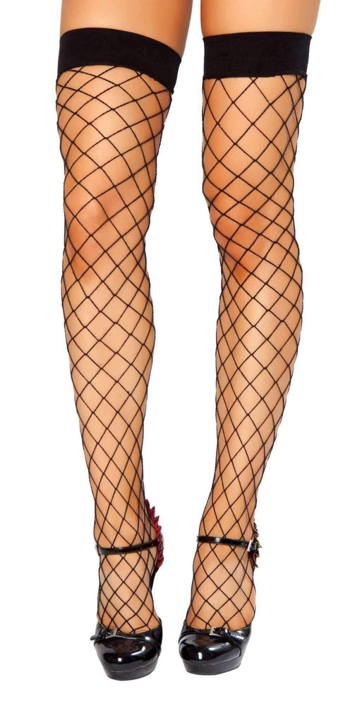 Roma Hosiery Stc207 - Thigh Highs Fishnet Stockings-Hosiery-Roma-Black-One Size-Unspoken Fashion