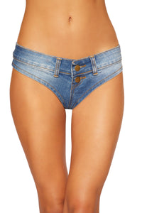 Roma Rave 3773 - Denim Jean Shorts with Belt Loop and Button Front Detail-Rave Bottoms-Roma-Small-Blue-Unspoken Fashion