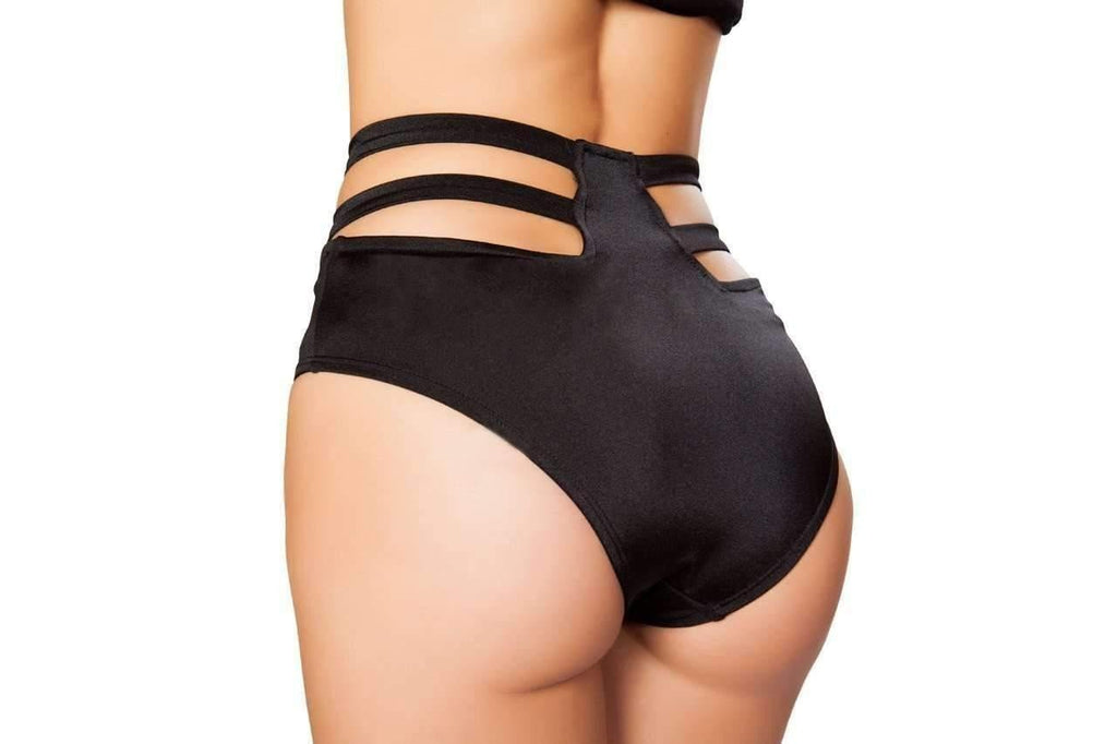 Roma Rave SH3321 - Solid High-Waisted Strapped Shorts-Rave Bottoms-Roma-Unspoken Fashion