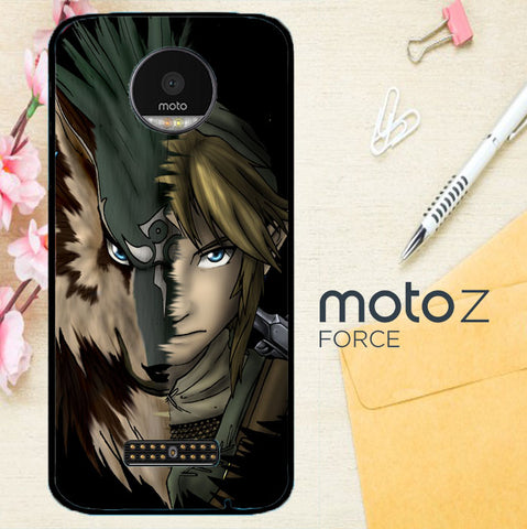 Zelda Link Wolf Triforce Z1233 Motorola Moto Z Force Case