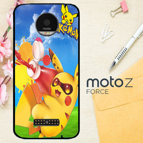 Zelda With Pikachu Pokemon D0018 Motorola Moto Z Force Case