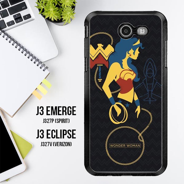 Wonder Woman Logo Y1303 Samsung Galaxy J3 Emerge, J3 Eclipse , Amp Prime 2, Express Prime 2 2017 SM J327 Case