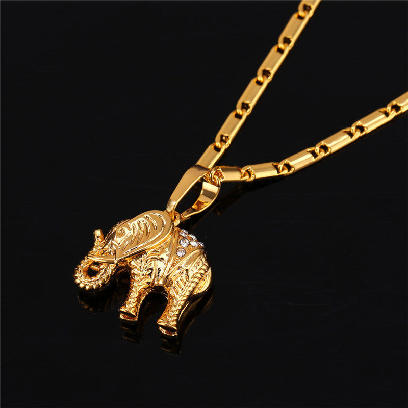 18k real gold plated pendants tagged lucky gold elephant necklace lucky gold elephant 18k goldplatinum plated rhinestone crystal pendant necklace for women aloadofball Gallery
