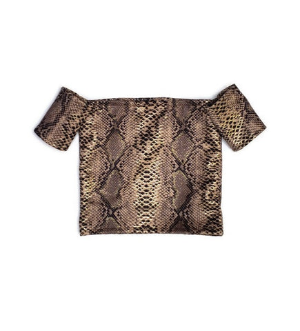 Snake Print off the Shoulders Top