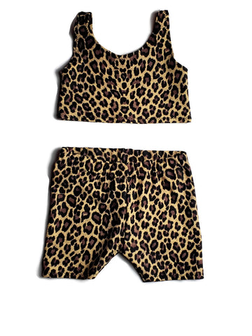Animal  Print Shorts Set Leopard