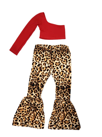 Red One Sleeve Top W/Leopard  Bellbottom Pants