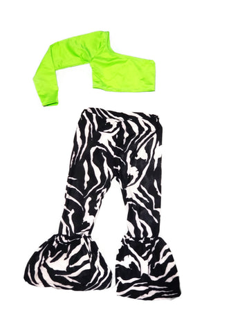 Neon One Sleeve Top W/Zebra Bellbottom Pants