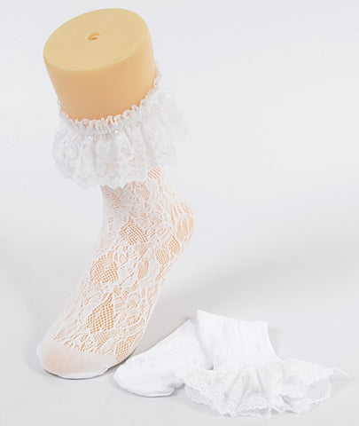 Laced floral mesh socks