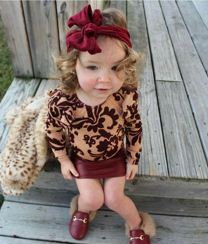 Beige & Burgandy Leotard