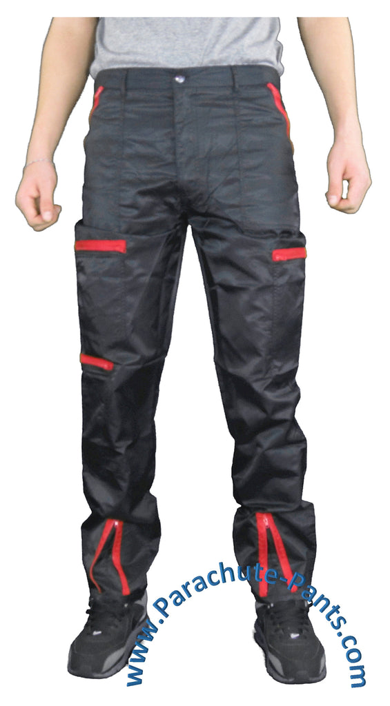 BreakIN Black Nylon Costume Parachute Pants with Red Zippers