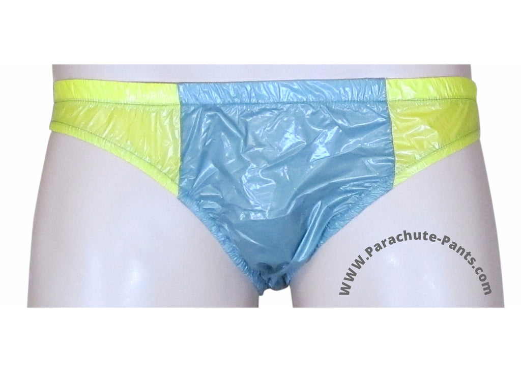 Bruno Grey/Yellow Shiny Plastic Nylon Underwear Shorts