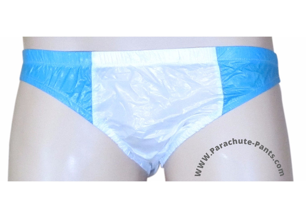 Bruno White/Blue Shiny Plastic Nylon Underwear Shorts