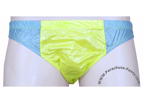 Bruno Yellow/Grey Shiny Plastic Nylon Underwear Shorts