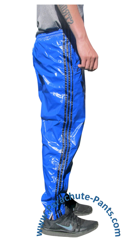 Bruno Blue Shiny Nylon/Plastic 3-Stripe Wind Pants