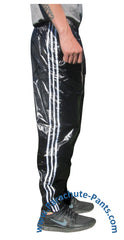Bruno Black Shiny Nylon/Plastic 3-Stripe Wind Pants