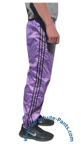 Bruno Purple Shiny Nylon 3-Stripe Wind Pants