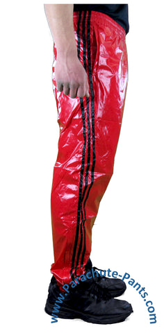Bruno Red Shiny Nylon/Plastic 3-Stripe Wind Pants