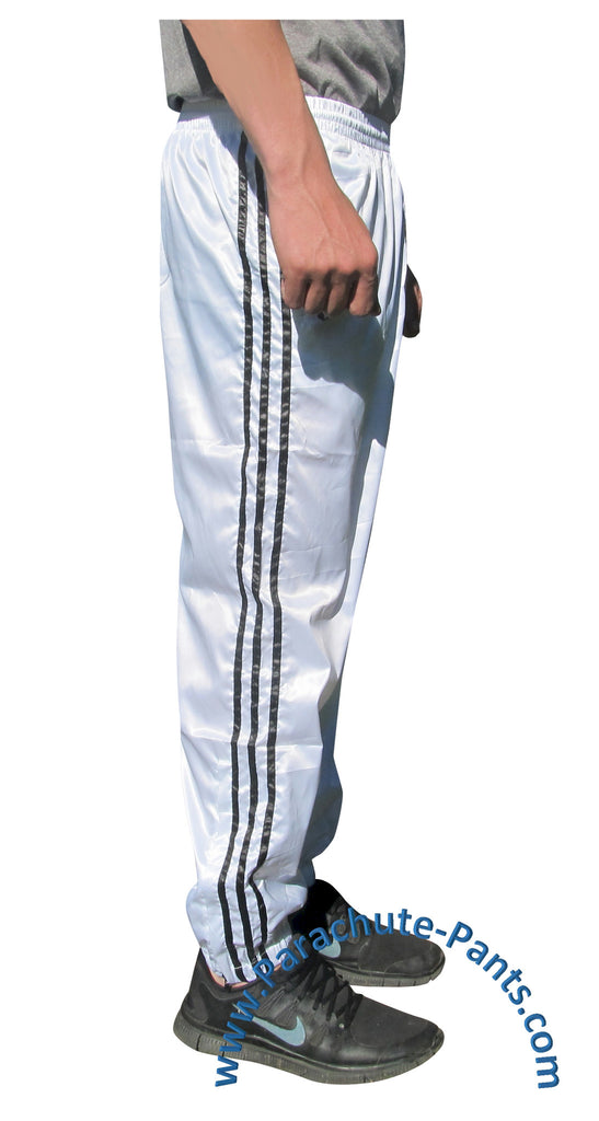 Bruno White Shiny Nylon 3-Stripe Wind Pants