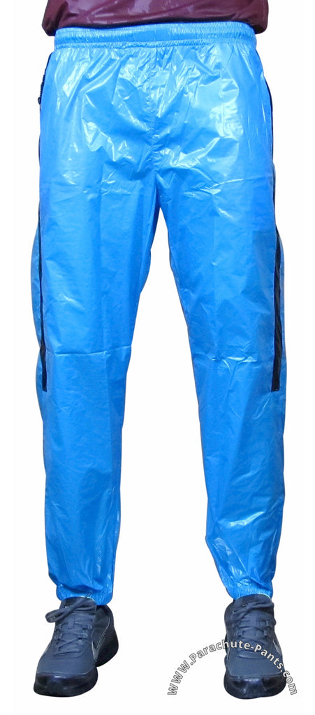 Bruno Blue Shiny Nylon/Plastic Wind Pants