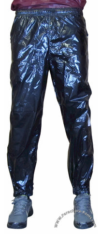Bruno Black Shiny Nylon/Plastic Wind Pants