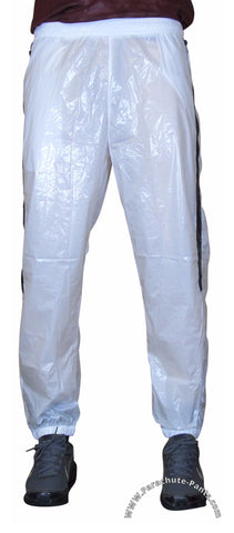 Bruno White Shiny Nylon/Plastic Wind Pants